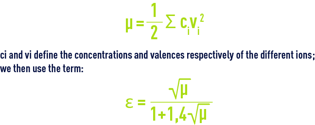 Formula: pHS - The equilibriums and their thermodynamic constants - concentrations and valences respectively of the different ions