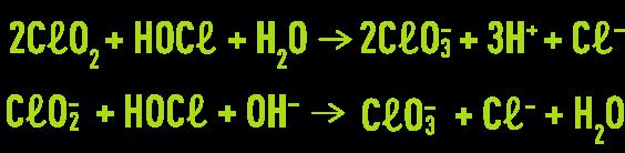 Formule : hypochlorous acid will oxidise chlorine dioxide