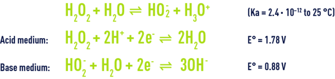 Formula: Hydrogen peroxide - acid nature and to its oxidising