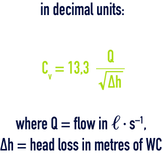 formula: Valve coefficient Cv - decimal units