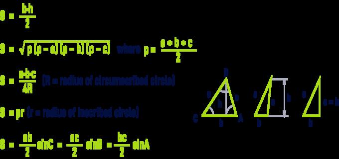 formula: geometry formulae - triangle