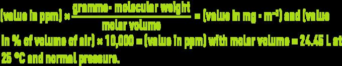 Formula: odours regulations - VLE & VME