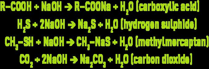 formula : odour control - alkaline scrubbing using sodium hydroxide